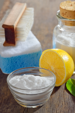 Natural cleaning products, lemon, baking powder, salt
