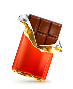 Image of an opened chocolate bar