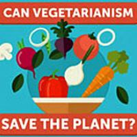 Variety of vegetables with text Can Vegetarianism Save The Planet
