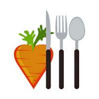 Image of a heart shaped carrot next to a knife, fork, and spoon