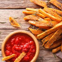 Baked Sweet Potato Fries with Roasted Red Pepper Dip