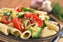 Penne Pasta with Baked Zucchini and Tomato