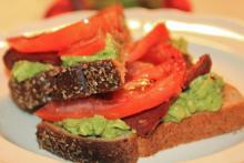 Open Faced B.A.T. (Bacon Avocado and Tomato Toast)