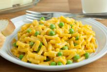 Gluten-Free Mac 'N' Cheese with Baby Peas