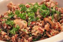 Seasoned Rice with Sauteed Mushrooms